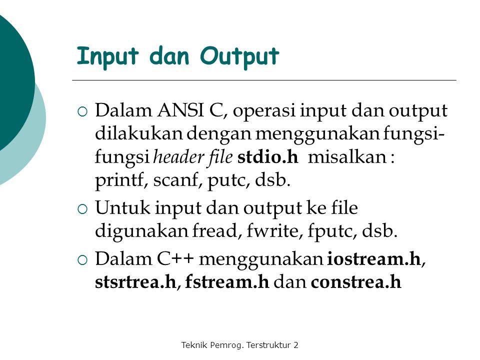 Teknik Pemrog. Terstruktur 2 Input dan Output  Dalam ANSI C, operasi input dan output dilakukan dengan menggunakan fungsi- fungsi header file stdio.h