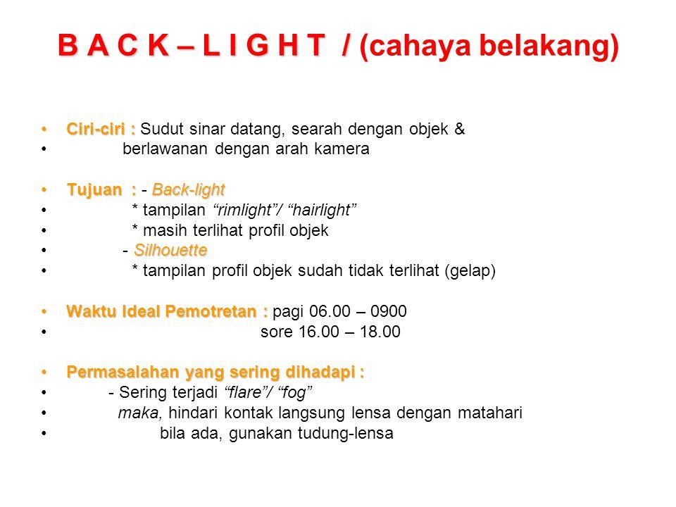 B A C K – L I G H T / B A C K – L I G H T / (cahaya belakang) Ciri-ciri :Ciri-ciri : Sudut sinar datang, searah dengan objek & berlawanan dengan arah