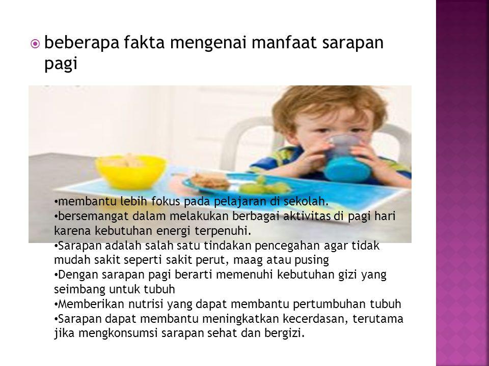  beberapa fakta mengenai manfaat sarapan pagi membantu lebih fokus pada pelajaran di sekolah.