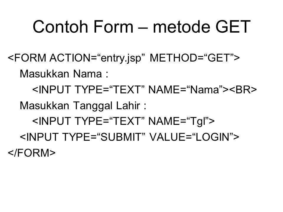 Contoh Form – metode GET Masukkan Nama : Masukkan Tanggal Lahir :