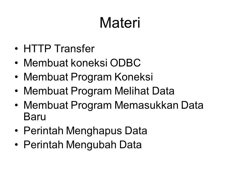 Materi HTTP Transfer Membuat koneksi ODBC Membuat Program Koneksi Membuat Program Melihat Data Membuat Program Memasukkan Data Baru Perintah Menghapus