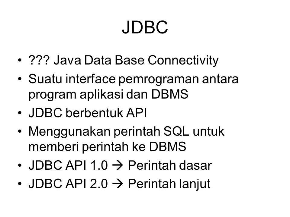 JDBC ??? Java Data Base Connectivity Suatu interface pemrograman antara program aplikasi dan DBMS JDBC berbentuk API Menggunakan perintah SQL untuk me