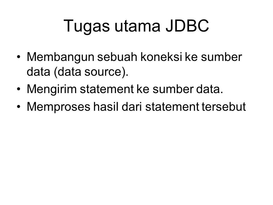 Tugas utama JDBC Membangun sebuah koneksi ke sumber data (data source). Mengirim statement ke sumber data. Memproses hasil dari statement tersebut