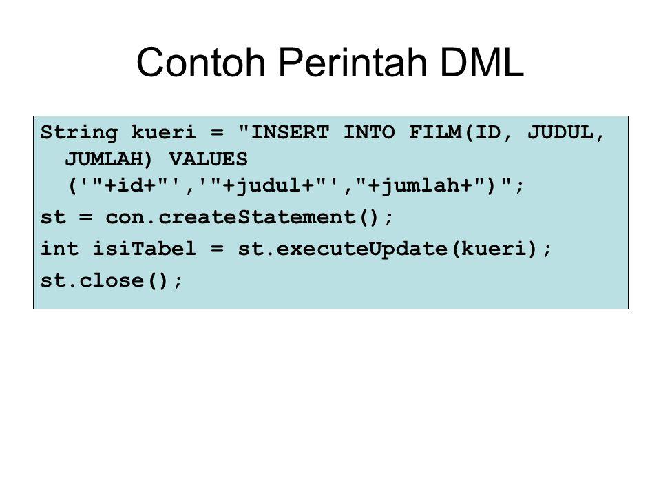 Contoh Perintah DML String kueri =
