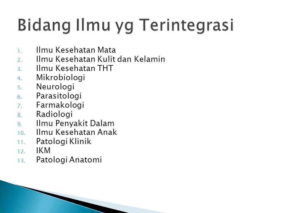1. Ilmu Kesehatan Mata 2. Ilmu Kesehatan Kulit dan Kelamin 3. Ilmu Kesehatan THT 4. Mikrobiologi 5. Neurologi 6. Parasitologi 7. Farmakologi 8. Radiol