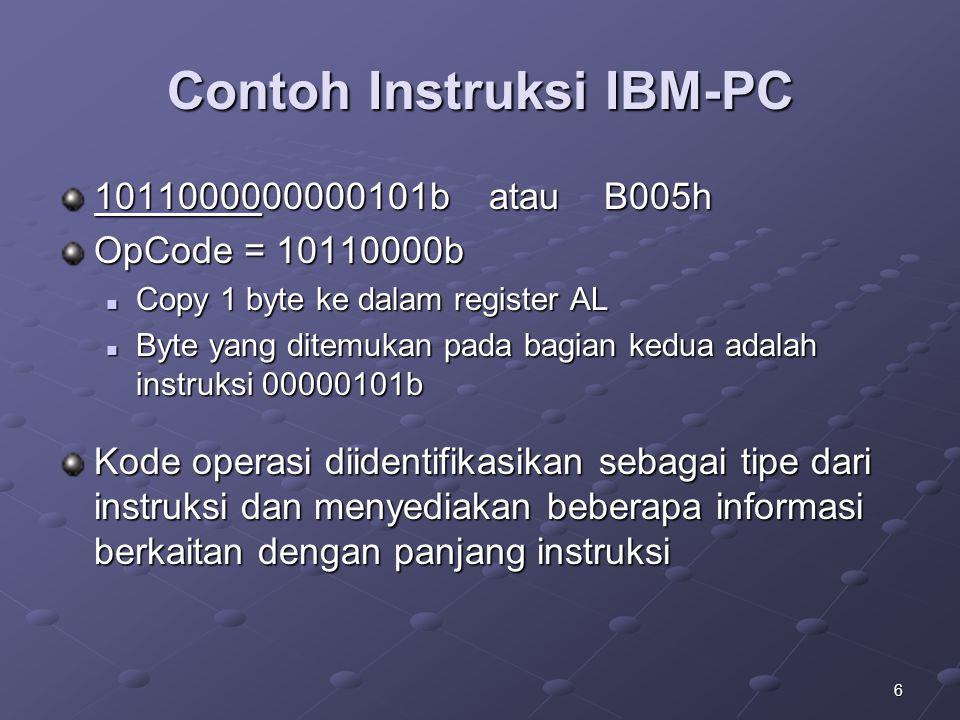 6 Contoh Instruksi IBM-PC 1011000000000101b atau B005h OpCode = 10110000b Copy 1 byte ke dalam register AL Copy 1 byte ke dalam register AL Byte yang