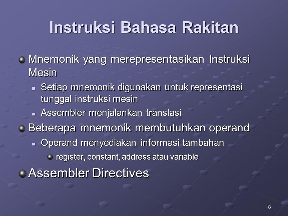8 Instruksi Bahasa Rakitan Mnemonik yang merepresentasikan Instruksi Mesin Setiap mnemonik digunakan untuk representasi tunggal instruksi mesin Setiap
