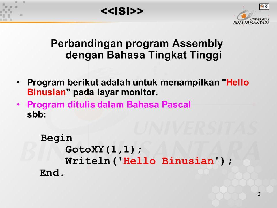 10 > Kalau program diatas dikompilasi dengan menggunakan Turbo Pascal versi....