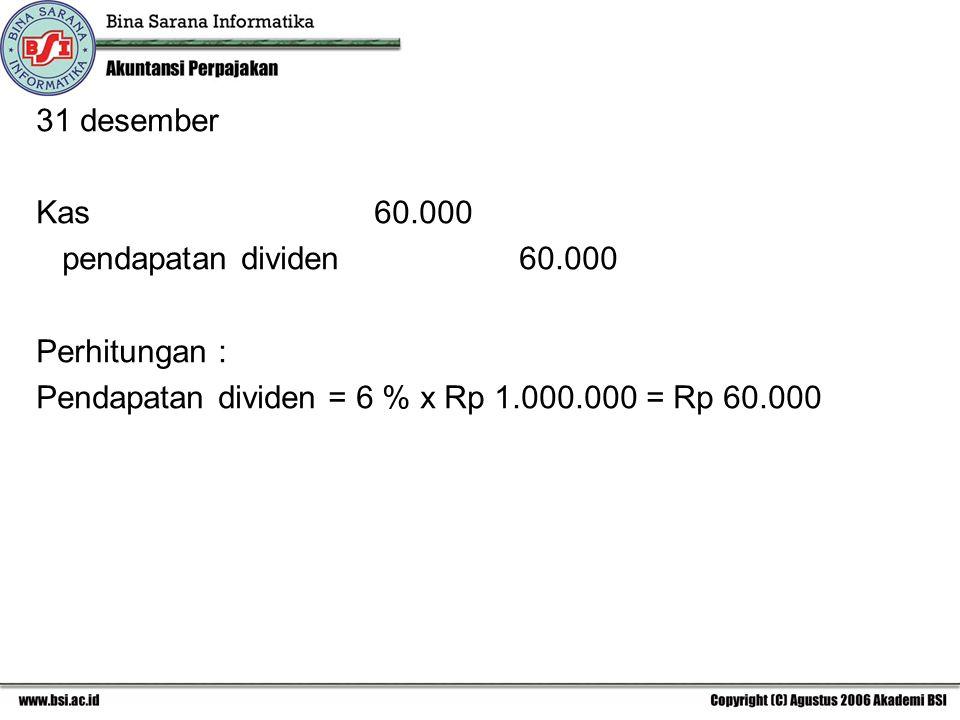 31 desember Kas 60.000 pendapatan dividen 60.000 Perhitungan : Pendapatan dividen = 6 % x Rp 1.000.000 = Rp 60.000