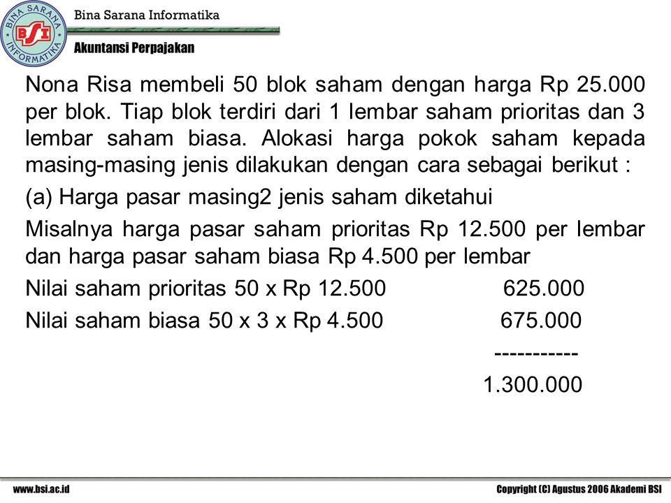 Nona Risa membeli 50 blok saham dengan harga Rp 25.000 per blok. Tiap blok terdiri dari 1 lembar saham prioritas dan 3 lembar saham biasa. Alokasi har
