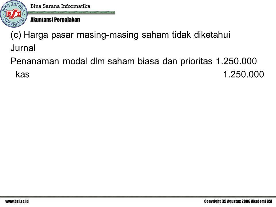 (c) Harga pasar masing-masing saham tidak diketahui Jurnal Penanaman modal dlm saham biasa dan prioritas 1.250.000 kas 1.250.000