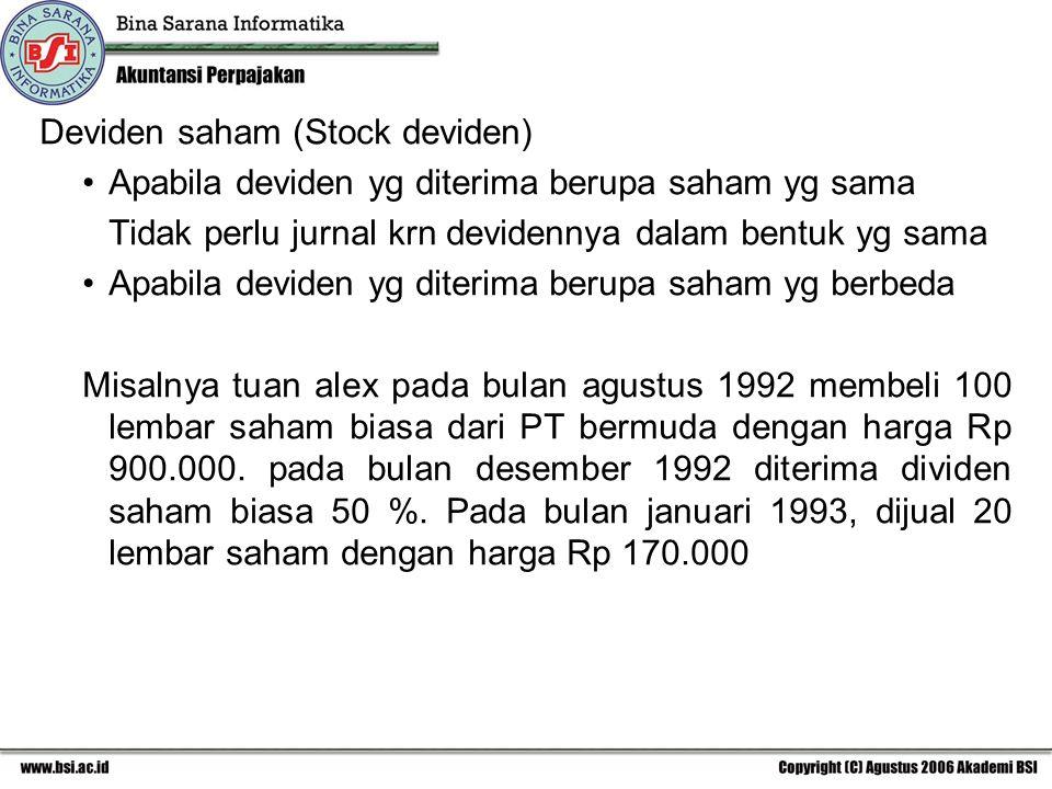 Deviden saham (Stock deviden) Apabila deviden yg diterima berupa saham yg sama Tidak perlu jurnal krn devidennya dalam bentuk yg sama Apabila deviden