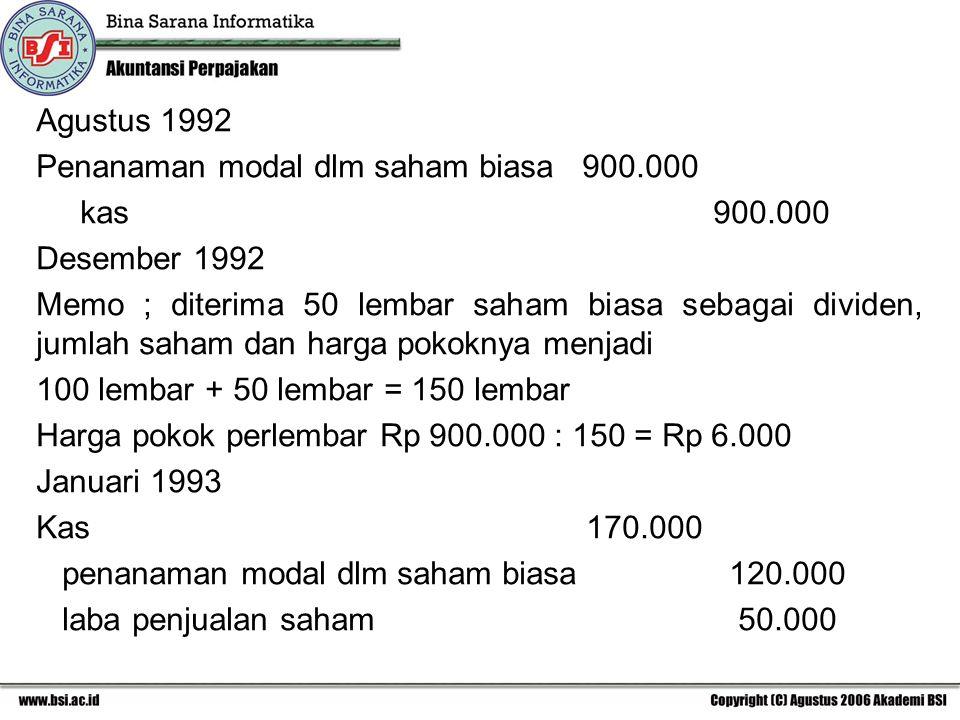 Agustus 1992 Penanaman modal dlm saham biasa 900.000 kas 900.000 Desember 1992 Memo ; diterima 50 lembar saham biasa sebagai dividen, jumlah saham dan