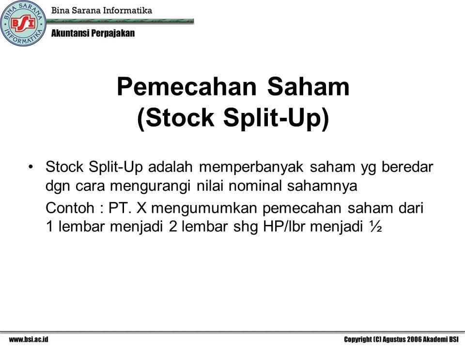 Pemecahan Saham (Stock Split-Up) Stock Split-Up adalah memperbanyak saham yg beredar dgn cara mengurangi nilai nominal sahamnya Contoh : PT. X mengumu