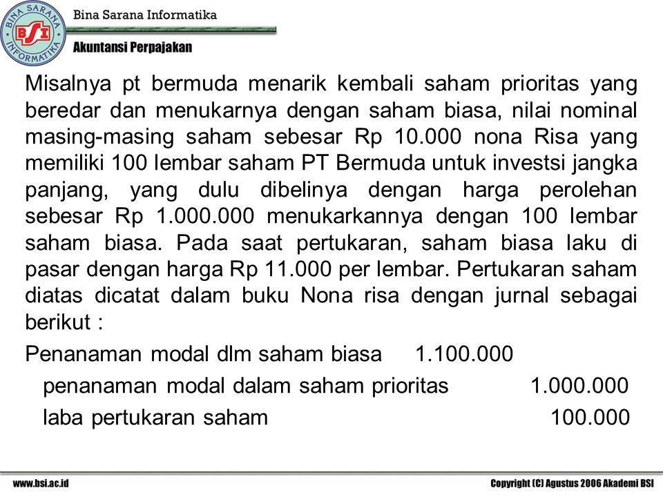 Misalnya pt bermuda menarik kembali saham prioritas yang beredar dan menukarnya dengan saham biasa, nilai nominal masing-masing saham sebesar Rp 10.00