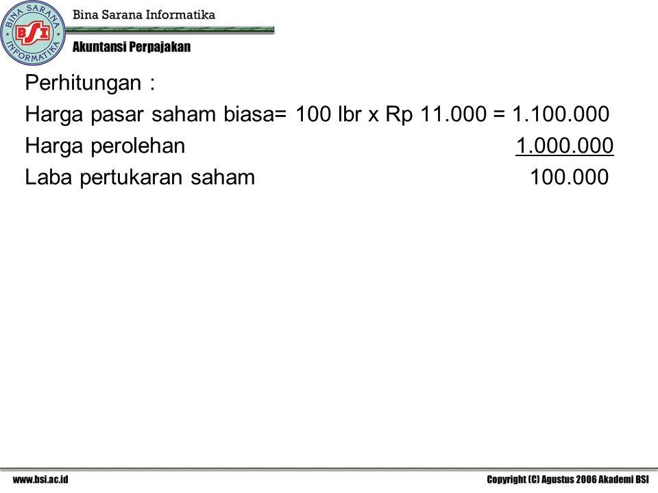 Perhitungan : Harga pasar saham biasa= 100 lbr x Rp 11.000 = 1.100.000 Harga perolehan 1.000.000 Laba pertukaran saham 100.000