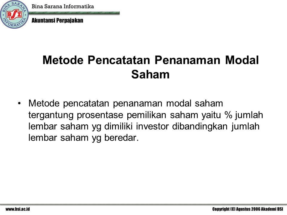 Metode Pencatatan Penanaman Modal Saham Metode pencatatan penanaman modal saham tergantung prosentase pemilikan saham yaitu % jumlah lembar saham yg dimiliki investor dibandingkan jumlah lembar saham yg beredar.