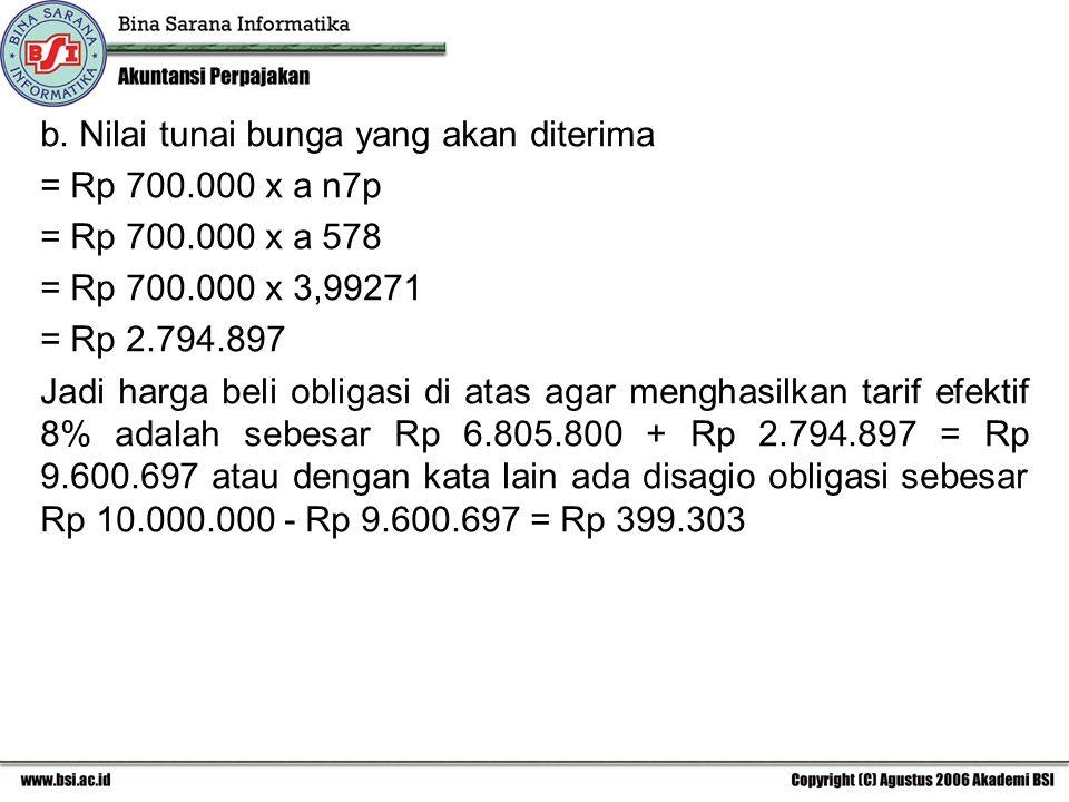 b. Nilai tunai bunga yang akan diterima = Rp 700.000 x a n7p = Rp 700.000 x a 578 = Rp 700.000 x 3,99271 = Rp 2.794.897 Jadi harga beli obligasi di at