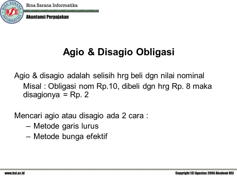 Agio & Disagio Obligasi Agio & disagio adalah selisih hrg beli dgn nilai nominal Misal : Obligasi nom Rp.10, dibeli dgn hrg Rp. 8 maka disagionya = Rp