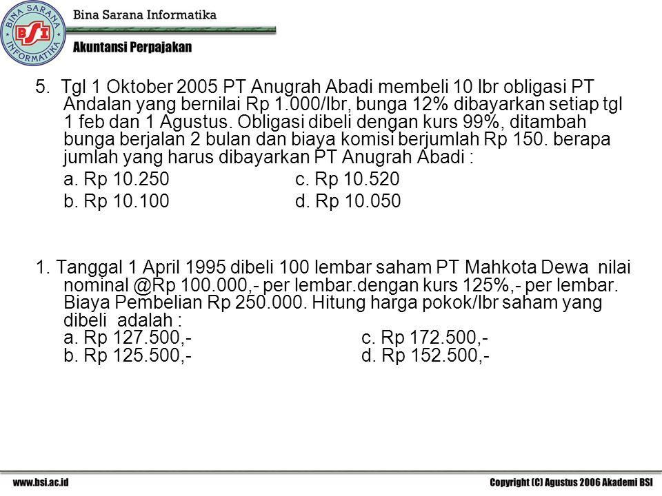 5. Tgl 1 Oktober 2005 PT Anugrah Abadi membeli 10 lbr obligasi PT Andalan yang bernilai Rp 1.000/lbr, bunga 12% dibayarkan setiap tgl 1 feb dan 1 Agus