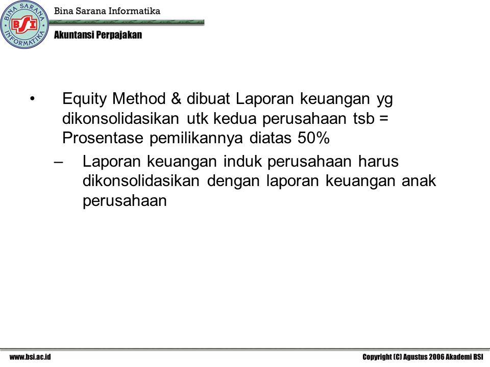 Equity Method & dibuat Laporan keuangan yg dikonsolidasikan utk kedua perusahaan tsb = Prosentase pemilikannya diatas 50% –Laporan keuangan induk perusahaan harus dikonsolidasikan dengan laporan keuangan anak perusahaan