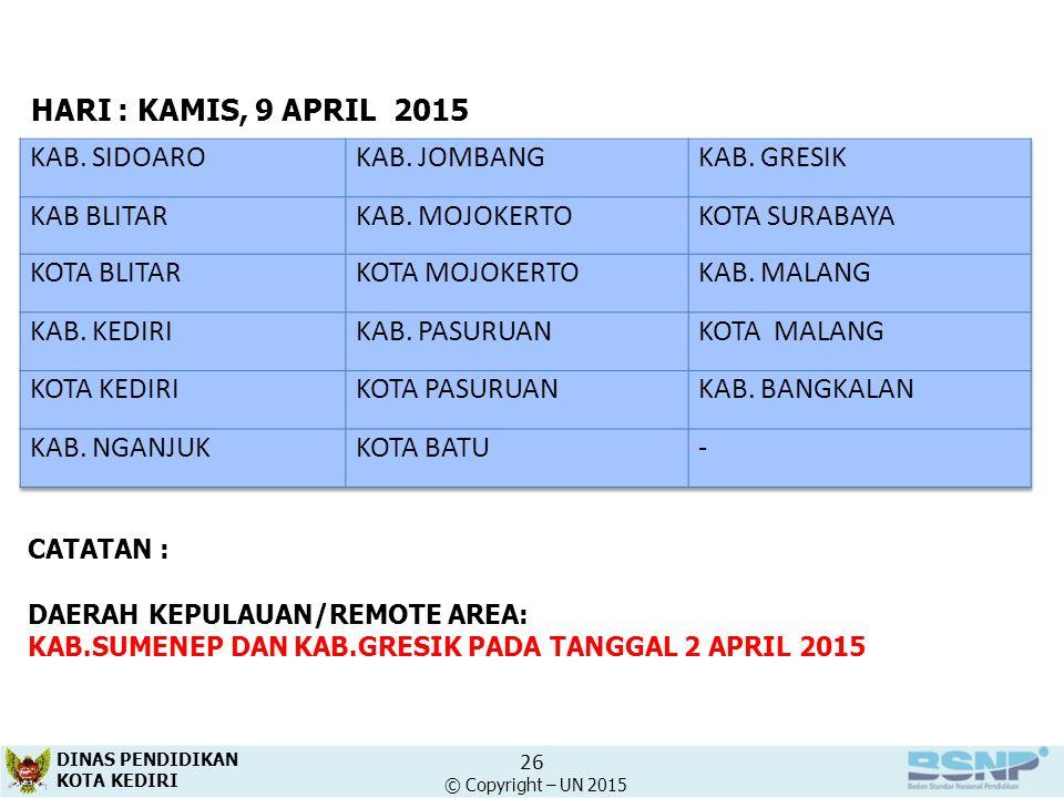 26 HARI : KAMIS, 9 APRIL2015 CATATAN : DAERAH KEPULAUAN/REMOTE AREA: KAB.SUMENEP DAN KAB.GRESIK PADA TANGGAL 2 APRIL 2015 KAB. SIDOAROKAB. JOMBANGKAB.