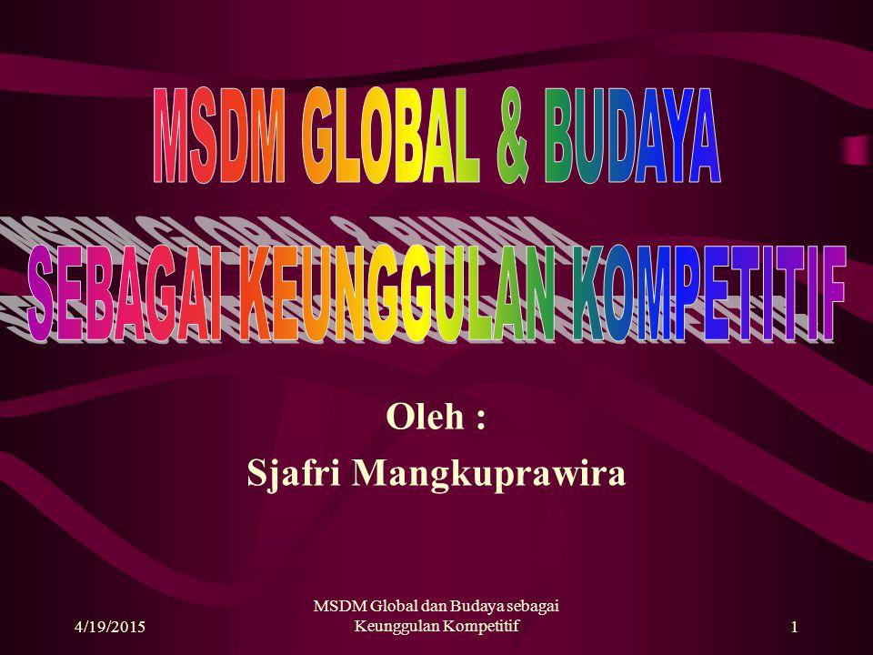 4/19/2015 MSDM Global dan Budaya sebagai Keunggulan Kompetitif1 Oleh : Sjafri Mangkuprawira