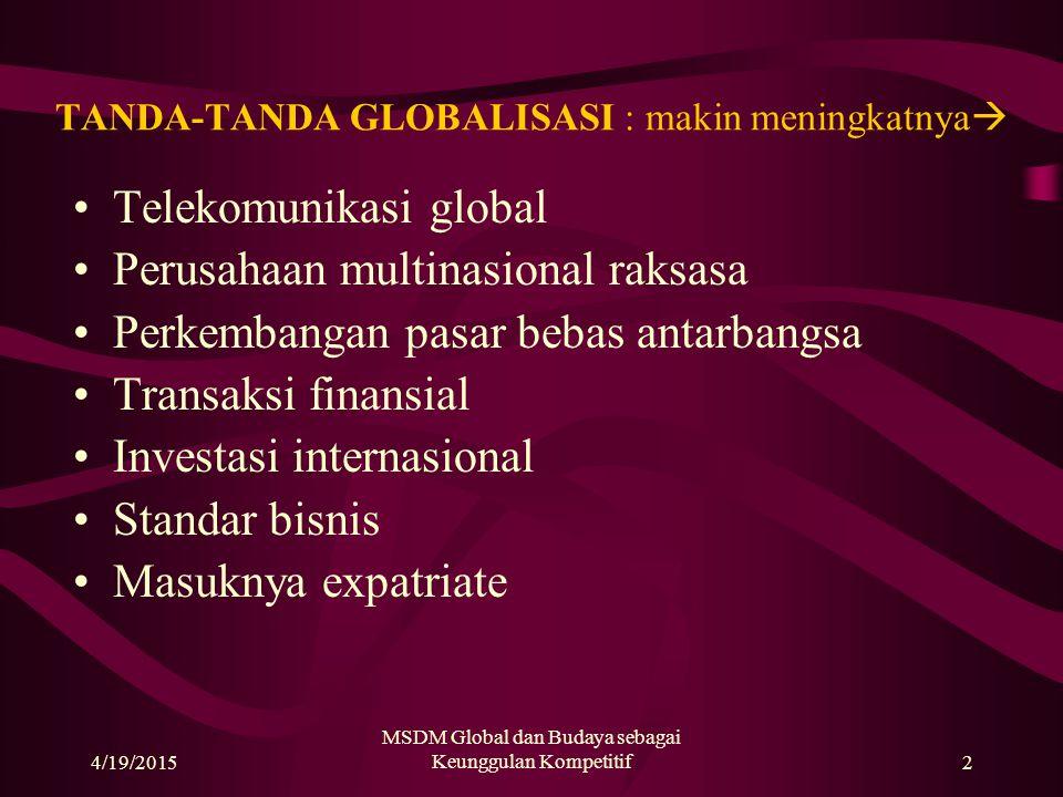 4/19/2015 MSDM Global dan Budaya sebagai Keunggulan Kompetitif2 TANDA-TANDA GLOBALISASI : makin meningkatnya  Telekomunikasi global Perusahaan multinasional raksasa Perkembangan pasar bebas antarbangsa Transaksi finansial Investasi internasional Standar bisnis Masuknya expatriate