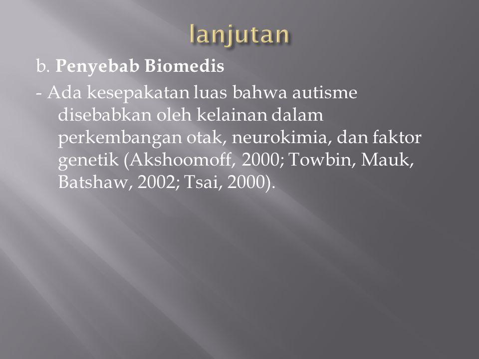 b. Penyebab Biomedis - Ada kesepakatan luas bahwa autisme disebabkan oleh kelainan dalam perkembangan otak, neurokimia, dan faktor genetik (Akshoomoff