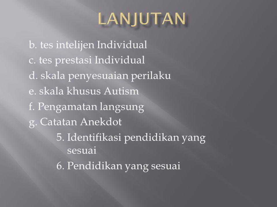 b. tes intelijen Individual c. tes prestasi Individual d.