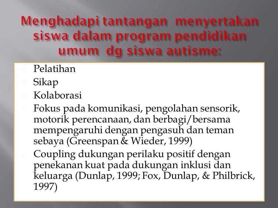  Pelatihan  Sikap  Kolaborasi  Fokus pada komunikasi, pengolahan sensorik, motorik perencanaan, dan berbagi/bersama mempengaruhi dengan pengasuh dan teman sebaya (Greenspan & Wieder, 1999)  Coupling dukungan perilaku positif dengan penekanan kuat pada dukungan inklusi dan keluarga (Dunlap, 1999; Fox, Dunlap, & Philbrick, 1997)
