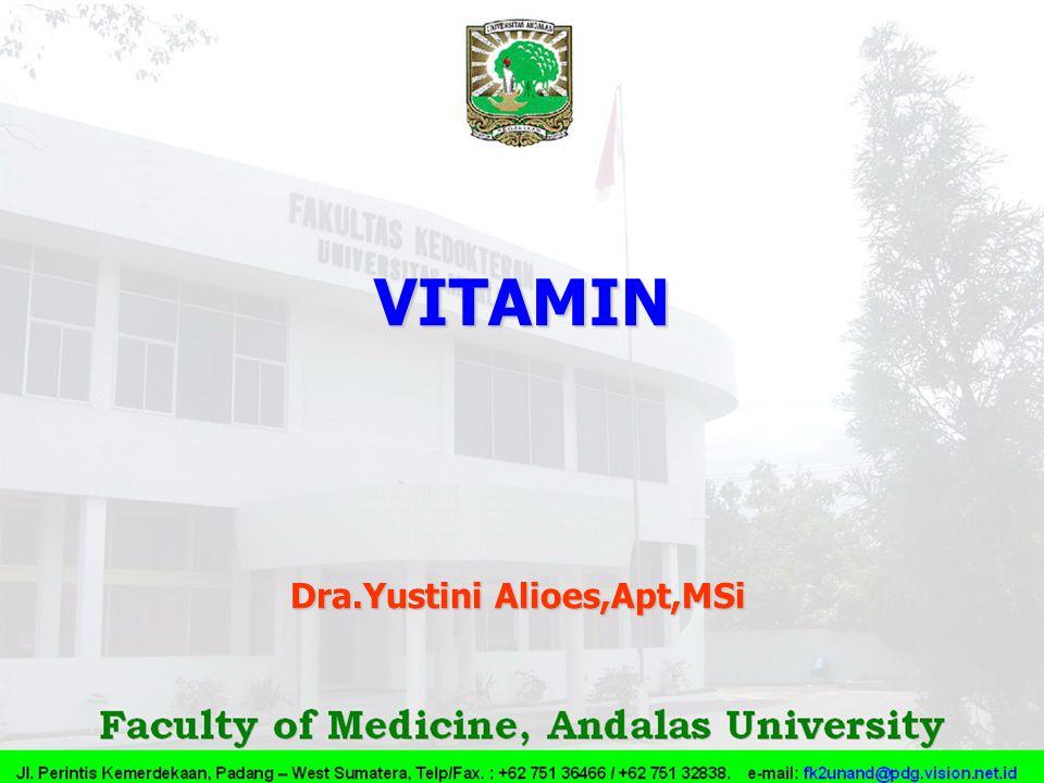 SILABUS VITAMIN  Vitamin A : Fungsi, Metabolisme, Defisiensi, Hipervitaminosis  Betakarotin : Fungsi, Metabolisme  Vitamin D : Fungsi, Metabolisme, Defisiensi  Vitamin E : Fungsi, Metabolisme  Vitamin K : Fungsi, Metabolisme, Defisiensi  Vitamin B Kompleks: (B 1, B 2, B 6, Niasin, Asam Pantotenat, Biotin, B 12 Dan Asam Folat), Fungsi, Metabolisme Dan Defisiensi  Vitamin C: Fungsi, Metabolisme, Defisiensi