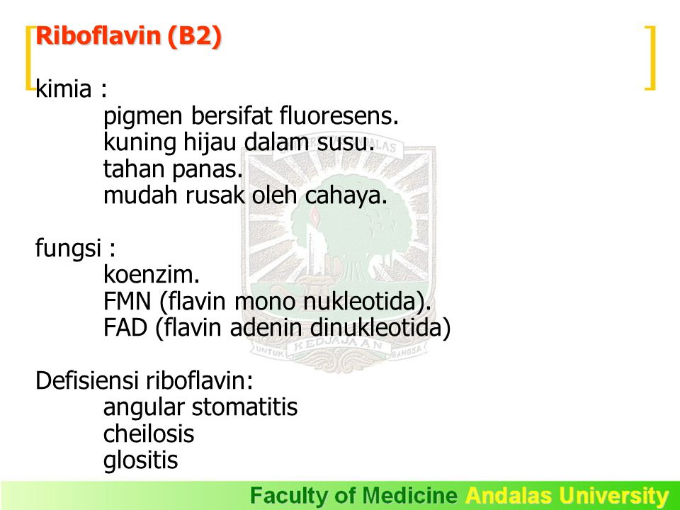 Riboflavin (B2) kimia : pigmen bersifat fluoresens. kuning hijau dalam susu. tahan panas. mudah rusak oleh cahaya. fungsi : koenzim. FMN (flavin mono