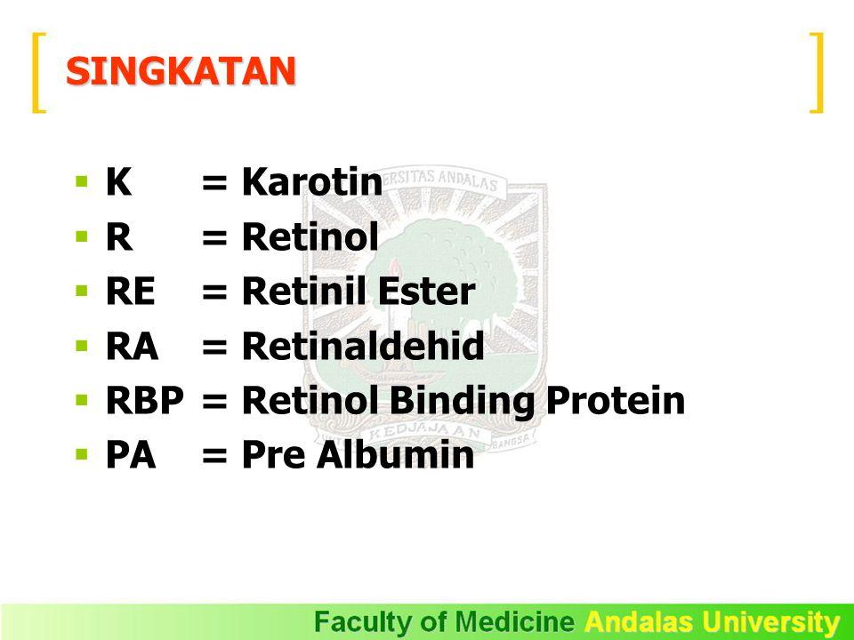 SINGKATAN  K = Karotin  R = Retinol  RE= Retinil Ester  RA= Retinaldehid  RBP= Retinol Binding Protein  PA = Pre Albumin