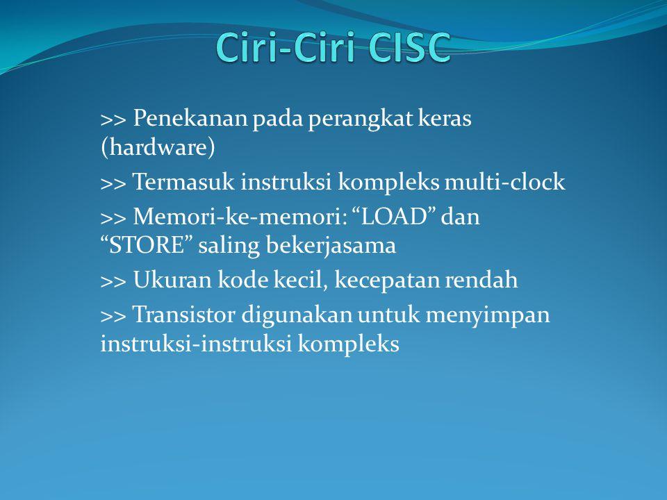 """>> Penekanan pada perangkat keras (hardware) >> Termasuk instruksi kompleks multi-clock >> Memori-ke-memori: """"LOAD"""" dan """"STORE"""" saling bekerjasama >>"""