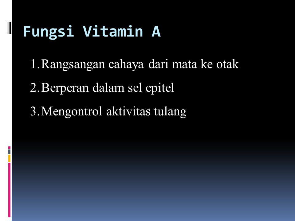 Fungsi Vitamin A 1.Rangsangan cahaya dari mata ke otak 2.Berperan dalam sel epitel 3.Mengontrol aktivitas tulang