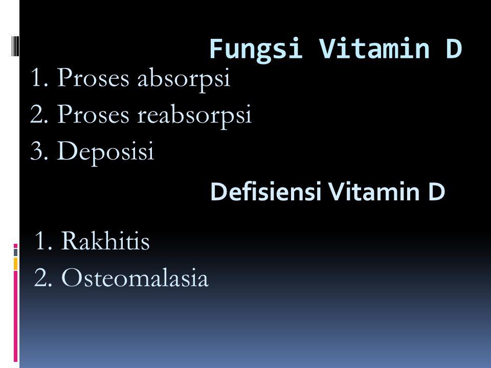 Fungsi Vitamin D 1.Proses absorpsi 2. Proses reabsorpsi 3.