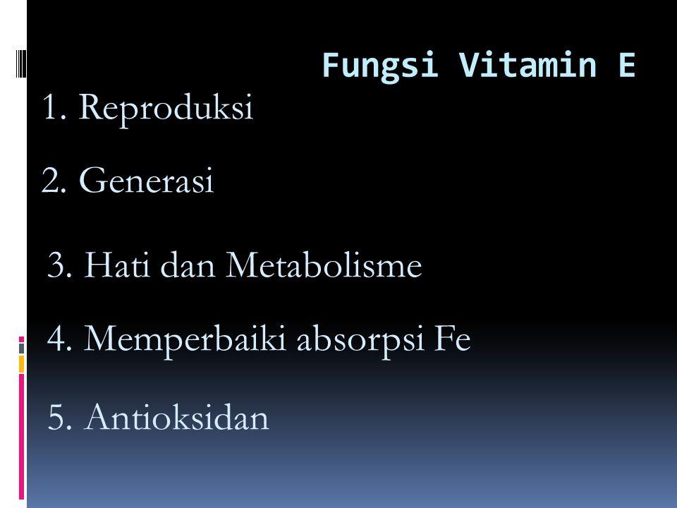 Fungsi Vitamin E 1.Reproduksi 2. Generasi 3. Hati dan Metabolisme 4.
