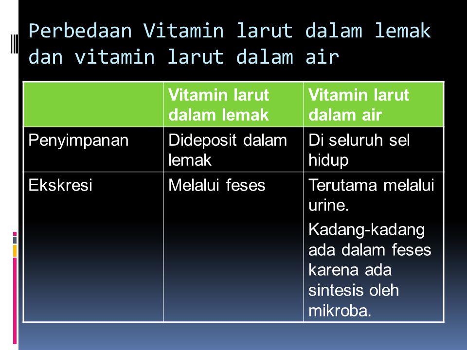 Perbedaan Vitamin larut dalam lemak dan vitamin larut dalam air Vitamin larut dalam lemak Vitamin larut dalam air PenyimpananDideposit dalam lemak Di seluruh sel hidup EkskresiMelalui fesesTerutama melalui urine.