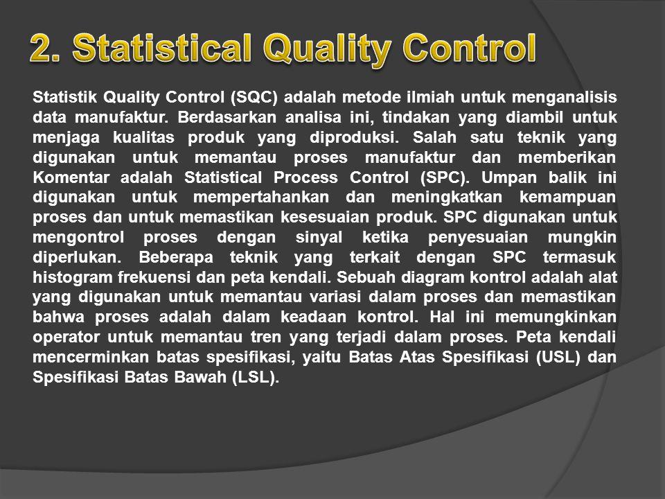 Statistik Quality Control (SQC) adalah metode ilmiah untuk menganalisis data manufaktur. Berdasarkan analisa ini, tindakan yang diambil untuk menjaga