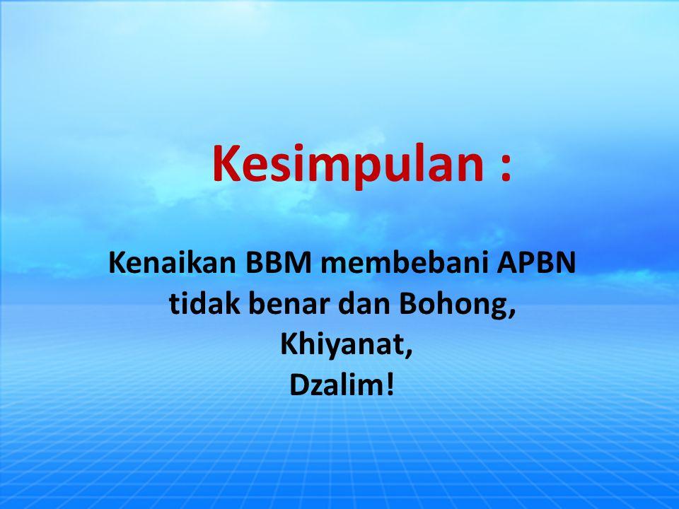 Kenaikan BBM membebani APBN tidak benar dan Bohong, Khiyanat, Dzalim! Kesimpulan :