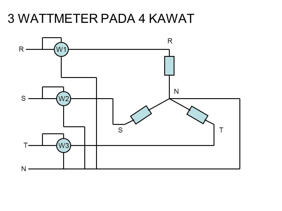 3 WATTMETER PADA 4 KAWAT W1 W3 W2 N R ST R S T N