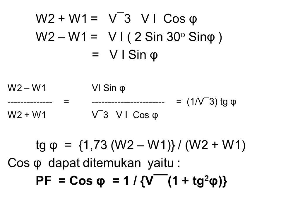 W2 + W1 = V¯3 V I Cos φ W2 – W1 = V I ( 2 Sin 30 o Sinφ ) = V I Sin φ W2 – W1 VI Sin φ -------------- = ----------------------- = (1/V¯3) tg φ W2 + W1