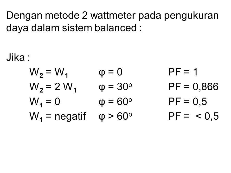 Dengan metode 2 wattmeter pada pengukuran daya dalam sistem balanced : Jika : W 2 = W 1 φ = 0 PF = 1 W 2 = 2 W 1 φ = 30 o PF = 0,866 W 1 = 0 φ = 60 o