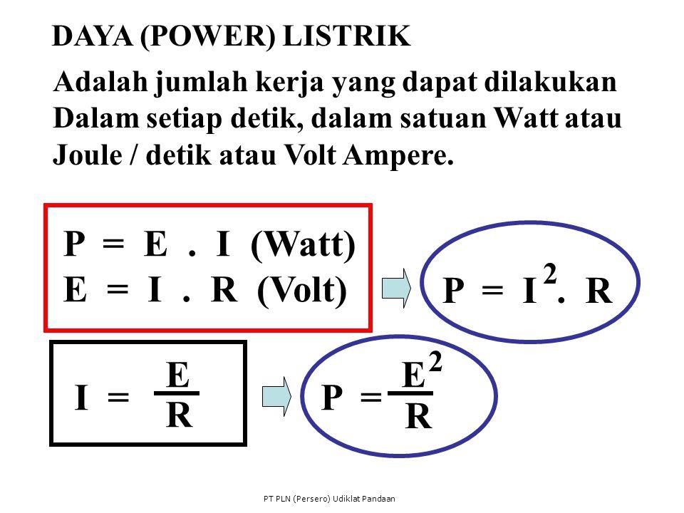 Adalah jumlah kerja yang dapat dilakukan Dalam setiap detik, dalam satuan Watt atau Joule / detik atau Volt Ampere. P = E. I (Watt) E = I. R (Volt) I
