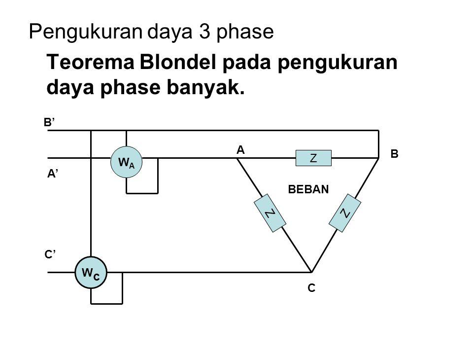 TEOREMA BLONDEL Daya dapat diukur dengan mengurangi satu elemen wattmeter dari sejumlah kawat dalam sistem poly phase  ( n – 1 ) wattmeter.
