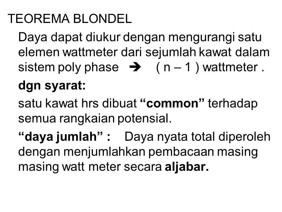 TEOREMA BLONDEL Daya dapat diukur dengan mengurangi satu elemen wattmeter dari sejumlah kawat dalam sistem poly phase  ( n – 1 ) wattmeter. dgn syara