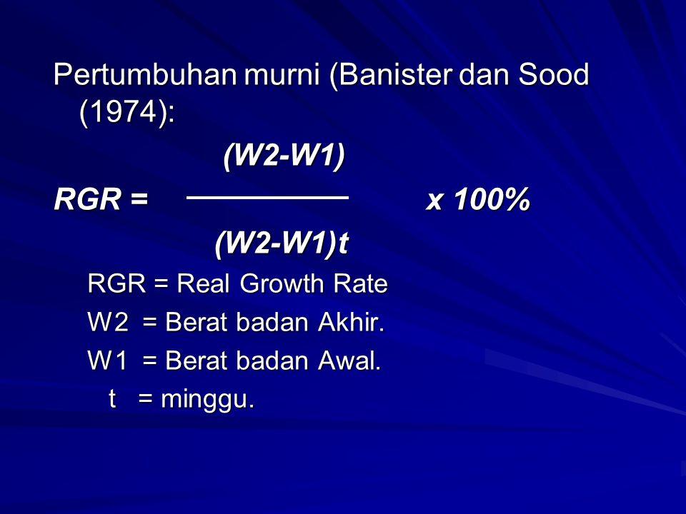 Pertumbuhan murni (Banister dan Sood (1974): (W2-W1) (W2-W1) RGR = x 100% (W2-W1)t (W2-W1)t RGR = Real Growth Rate W2 = Berat badan Akhir. W1 = Berat