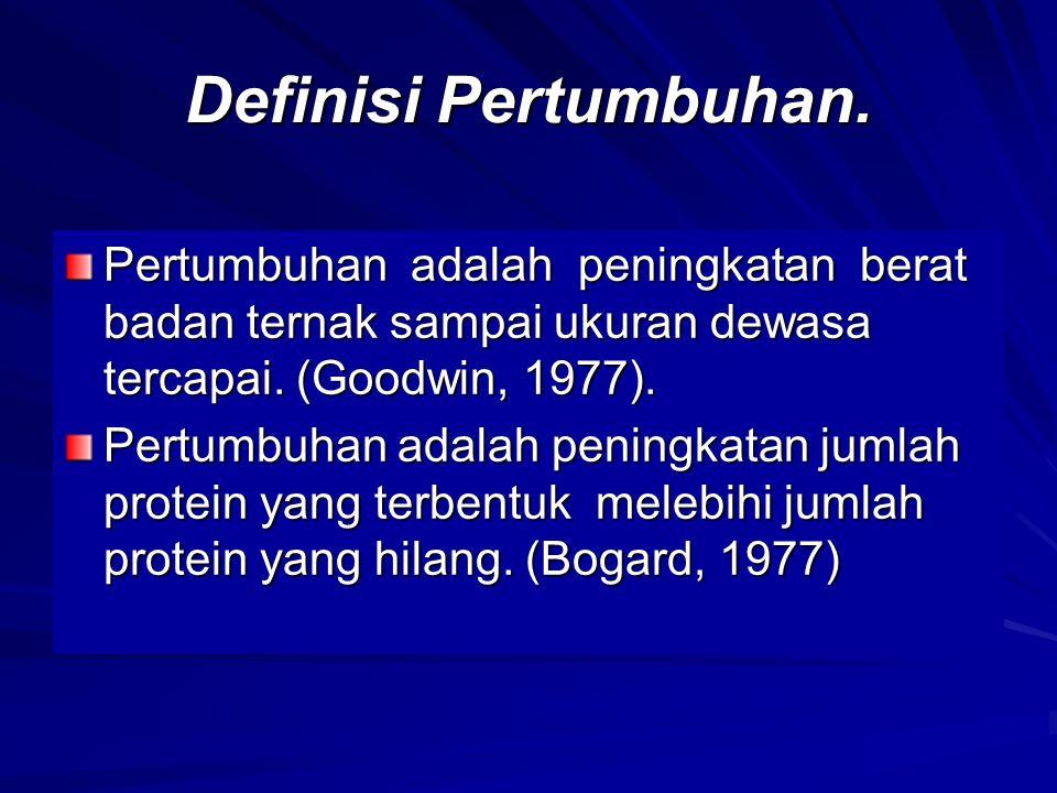 Definisi Pertumbuhan. Pertumbuhan adalah peningkatan berat badan ternak sampai ukuran dewasa tercapai. (Goodwin, 1977). Pertumbuhan adalah peningkatan