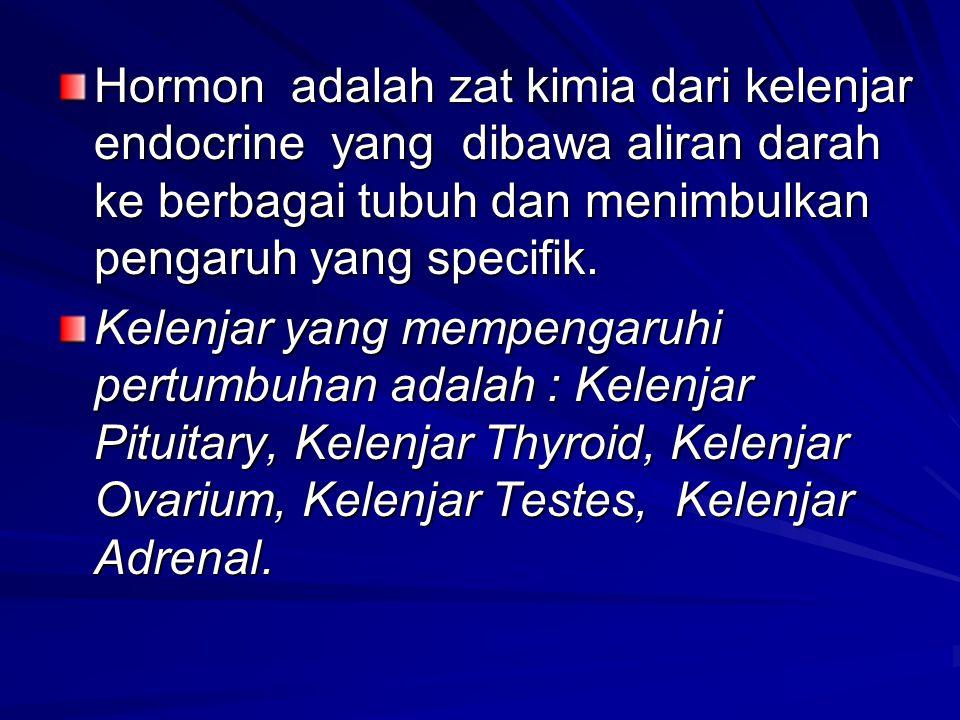 Hormon adalah zat kimia dari kelenjar endocrine yang dibawa aliran darah ke berbagai tubuh dan menimbulkan pengaruh yang specifik. Kelenjar yang mempe